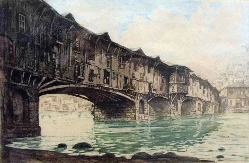 The covered bridge in the town of Lovech is one of the town symbols ...